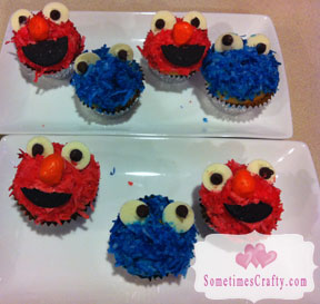 Cookie Monster & Elmo Cupcakes