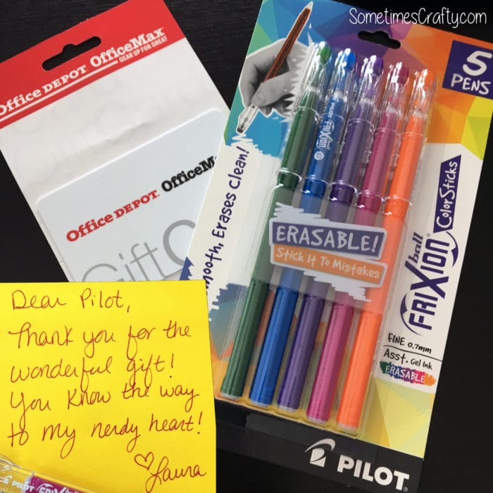Thank You Pilot Frixion ColorSticks Pens Office Max Office Depot Gift Card