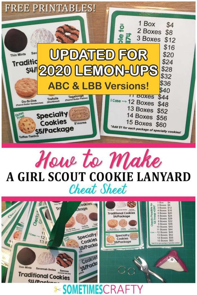 How to Make a Girl Scout Cookie Lanyard Cheat Sheet with Free Printables
