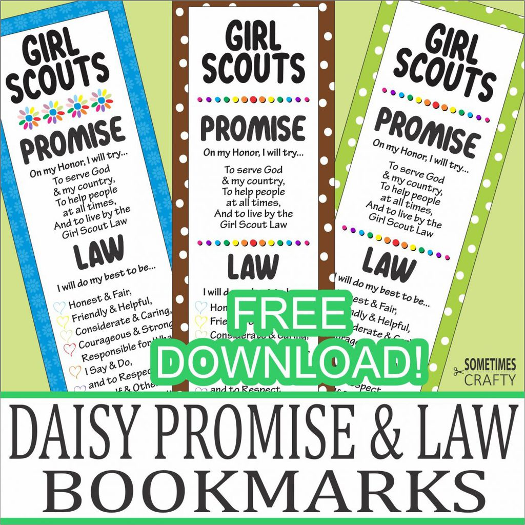 Girl Scouts Promise & Law Bookmarks