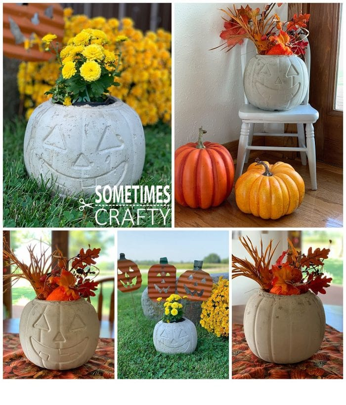 Cement Pumpkins in different settings