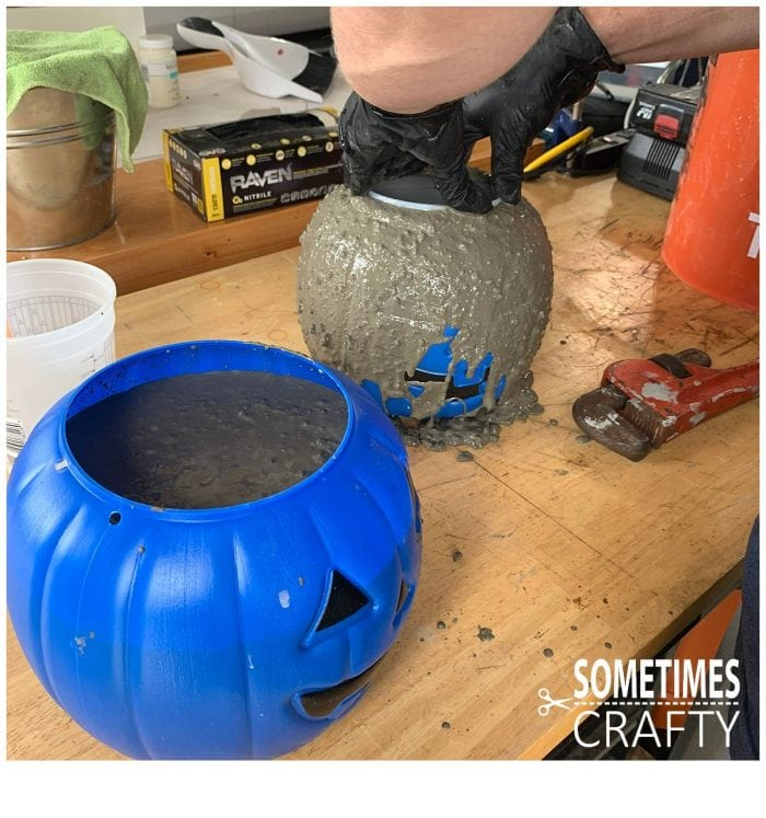 Cement Pumpkins Insert Cups Sometimes Crafty