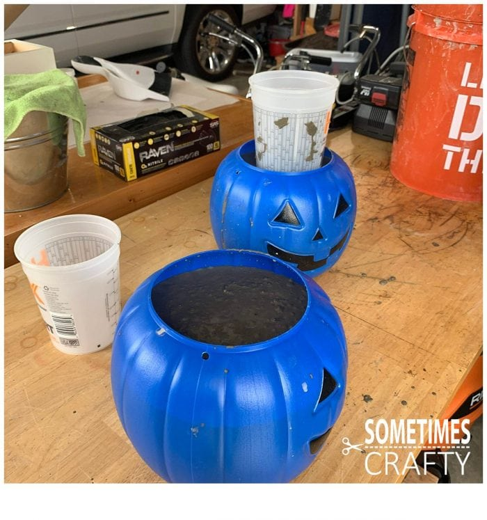Cement Pumpkins Insert Cups in Mix Sometimes Crafty