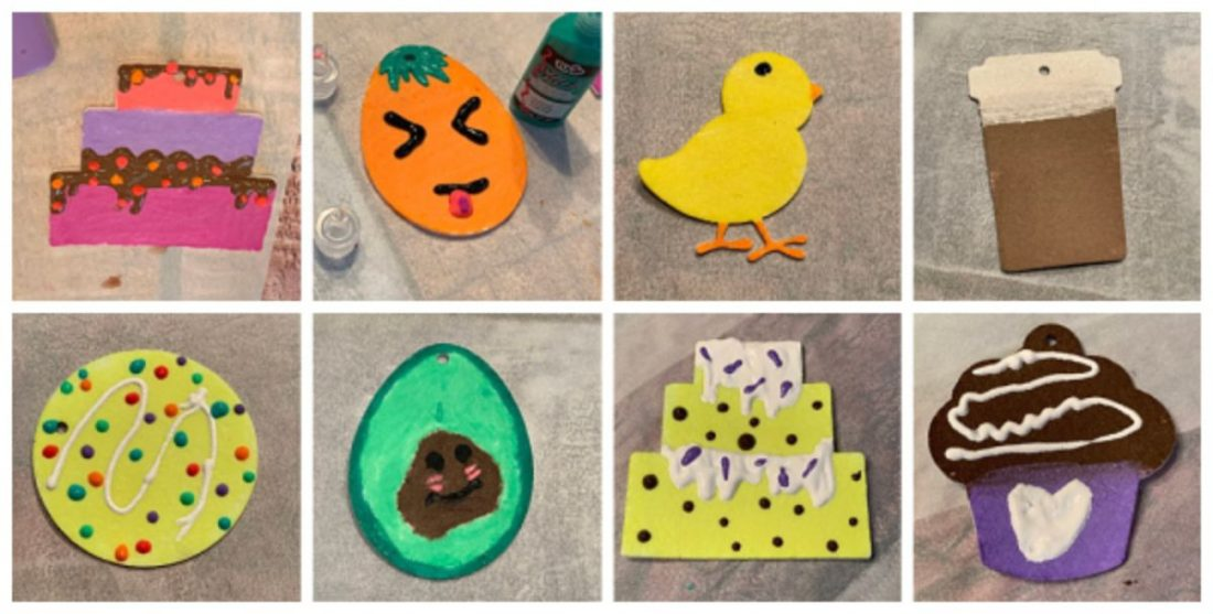 Decorating felt freshie blanks with fabric paints is a fun craft project for kids!