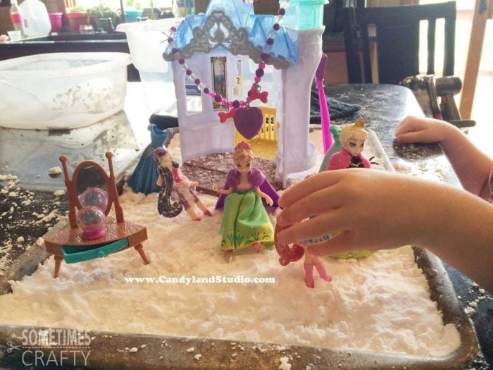 Frozen Figurines in Fake Snow