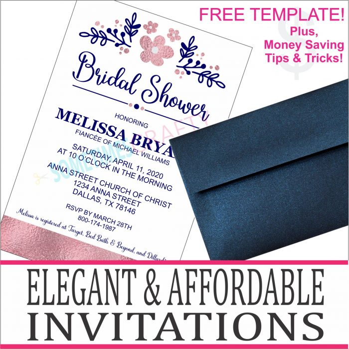 Rose Gold and Navy Bridal Shower Invitations